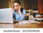 young businesswoman feeling... | Shutterstock . vector #1013524018