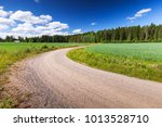 turning rural road goes near... | Shutterstock . vector #1013528710