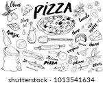 pizza menu hand drawn sketch... | Shutterstock .eps vector #1013541634