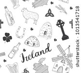 ireland sketch doodles seamless ... | Shutterstock .eps vector #1013541718