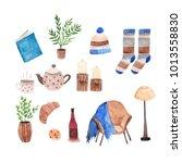 watercolor sweet home elements | Shutterstock . vector #1013558830