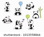panda cartoon character in... | Shutterstock .eps vector #1013558866