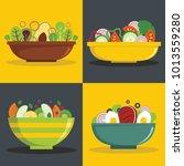 salad bowl banner horizontal...   Shutterstock .eps vector #1013559280
