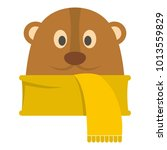 groundhog in scarf icon. flat... | Shutterstock .eps vector #1013559829