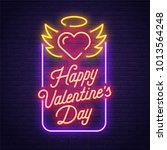 happy valentine's day. 3d neon... | Shutterstock .eps vector #1013564248