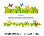 butterflies with grass with... | Shutterstock .eps vector #101357788