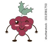 kawaii bunch of grapes | Shutterstock .eps vector #1013581753