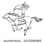 national american indian riding ... | Shutterstock .eps vector #1013586883