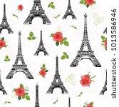 vector black red eifel tower... | Shutterstock .eps vector #1013586946