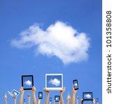 cloud computing concept.hands...   Shutterstock . vector #101358808