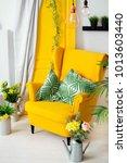 yellow armchair with pillows...   Shutterstock . vector #1013603440