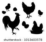 chicken rooster chickens eggs... | Shutterstock .eps vector #1013603578