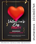 3d hearts and luxurious golden... | Shutterstock .eps vector #1013603764