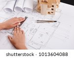 architect drawing architectural ... | Shutterstock . vector #1013604088