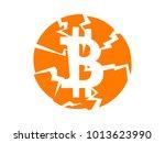 broken bitcoin vector sign on... | Shutterstock .eps vector #1013623990