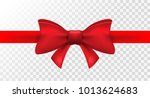 red ribbon with red bow. vector ... | Shutterstock .eps vector #1013624683