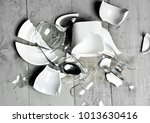 glass broken dishes crashed... | Shutterstock . vector #1013630416