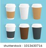 vector set of disposable coffee ... | Shutterstock .eps vector #1013630716