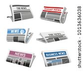 newspaper isolated icons of... | Shutterstock .eps vector #1013636038
