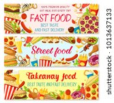fast food burgers restaurant or ... | Shutterstock .eps vector #1013637133