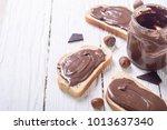nut nougat cream sandwich with... | Shutterstock . vector #1013637340