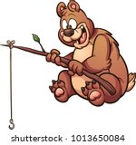 cartoon fishing bear. vector... | Shutterstock .eps vector #1013650084