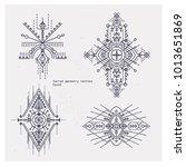 sacred geometry tattoo set.... | Shutterstock .eps vector #1013651869