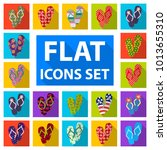 flip flops flat icons in set... | Shutterstock . vector #1013655310
