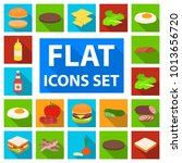 burger and ingredients flat... | Shutterstock . vector #1013656720