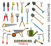 gardening tools icons of... | Shutterstock .eps vector #1013657248