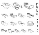 different beds outline icons in ... | Shutterstock . vector #1013659879