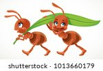 Two Cute Cartoon Ant Carry...