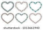 set of decorative hearts framed ...   Shutterstock .eps vector #1013661940