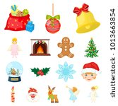 christmas attributes and... | Shutterstock . vector #1013663854