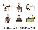 man at desktop icon set....   Shutterstock .eps vector #1013667958