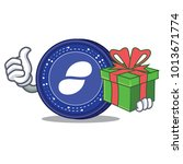 with gift status coin mascot... | Shutterstock .eps vector #1013671774