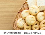 butter cookies in bamboo bowl... | Shutterstock . vector #1013678428