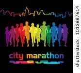 running people. front view of... | Shutterstock .eps vector #1013687614