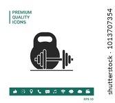 kettlebell and barbell icon   Shutterstock .eps vector #1013707354