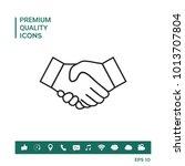 handshake line icon | Shutterstock .eps vector #1013707804