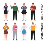 various school uniform fashion... | Shutterstock .eps vector #1013715964