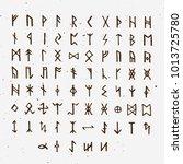 set of old norse scandinavian... | Shutterstock .eps vector #1013725780