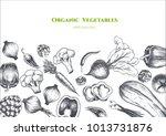 vector frame with vegetables .... | Shutterstock .eps vector #1013731876