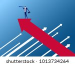 businessman stand on arrow... | Shutterstock .eps vector #1013734264