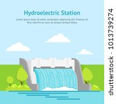 cartoon hydroelectric station... | Shutterstock .eps vector #1013739274
