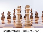 chess board with chess pieces ... | Shutterstock . vector #1013750764