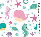 seamless pattern for kids with... | Shutterstock .eps vector #1013751994
