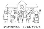 hand drawn students standing in ...   Shutterstock .eps vector #1013759476