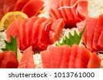 tuna slice japanese food  tuna... | Shutterstock . vector #1013761000