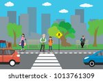 city street and road cartoon... | Shutterstock .eps vector #1013761309